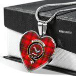 Scottish MacDougall Clan Badge Tartan Necklace Heart Style