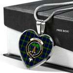 Scottish MacEwan Clan Badge Tartan Necklace Heart Style