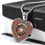 Scottish MacFarlane Ancient Clan Badge Tartan Necklace Heart Style