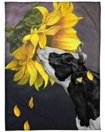 Dairy Cattle Blanket, Dairy Cattle Sunflower Fleece Blanket - Family Presents - Great Blanket, Canvas, Clothe, Gifts For Family