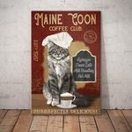 Maine Coon Cat Coffee Club Canvas – Purrrfectly Delicious – Anniversary Birthday Christmas Housewarming Gift Home - Family Presents - Great Blanket, Canvas, Clothe, Gifts For Family