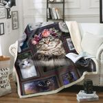 Rosie Flowers Cat Blanket - Family Presents - Great Blanket, Canvas, Clothe, Gifts For Family