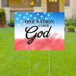 One Nation Under God Yard Sign God Blessed Yard Sign God Saves Yard Sign God Blesses America Yars Sign Patriotic American Yard Sign - Family Presents - Great Blanket, Canvas, Clothe, Gifts For Family
