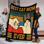 Custom Blanket Vintage Best Cat Mom Ever Fist Bump Blanket - Fleece Blanket - Family Presents - Great Blanket, Canvas, Clothe, Gifts For Family