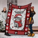 CHRISTMAS CAT BLANKET - ALL I WANT FOR CHRISTMAS IS - Family Presents - Great Blanket, Canvas, Clothe, Gifts For Family