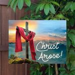 Christ Arose Easter Yard Sign with Metal Stake Included - Family Presents - Great Blanket, Canvas, Clothe, Gifts For Family