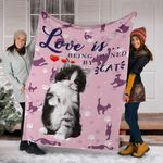 BICOLOR CAT BLANKET- CAT PINK LOVE BLANKET - LOVE IS BEING OWNER BY A CAT - Family Presents - Great Blanket, Canvas, Clothe, Gifts For Family
