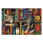 Cat Nap In Books Wooden Jigsaw Puzzles Brain Training Puzzles Daily Jigsaw Puzzle Games for Adults and Kids - Family Presents - Great Blanket, Canvas, Clothe, Gifts For Family