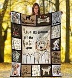 Dog Blanket Live Like Someone Left The Gate Open Goldendoodle Dog Fleece Blanket - Family Presents - Great Blanket, Canvas, Clothe, Gifts For Family