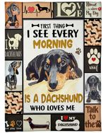 Dachshund Dog Blanket First Thing I See Every Morning Fleece Blanket - Family Presents - Great Blanket, Canvas, Clothe, Gifts For Family