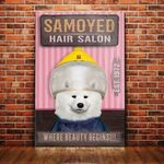 Samoyed Dog Hair Salon Canvas - Where beauty begins - Anniversary Birthday Christmas Housewarming Gift Home - Family Presents - Great Blanket, Canvas, Clothe, Gifts For Family