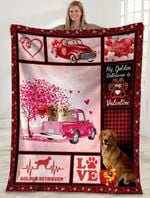 Dog Blanket Valentine's Day Gifts My Golden Retriever Is My Valentine Golden Retriever Dog Pink Truck Fleece Blanket - Family Presents - Great Blanket, Canvas, Clothe, Gifts For Family