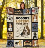 Dog Blanket Nobody Listens To Me Until I Fart Funny Basset Hound Dog Fleece Blanket - Family Presents - Great Blanket, Canvas, Clothe, Gifts For Family