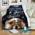 English Bulldog Goodnight blanket - Always remember to fall as sleep with a dream - Birthday, Christmas gift for friends, dog lovers - Family Presents - Great Blanket, Canvas, Clothe, Gifts For Family
