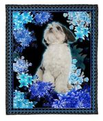 shih tzu purple blossom case Fleece Blanket - Family Presents - Great Blanket, Canvas, Clothe, Gifts For Family