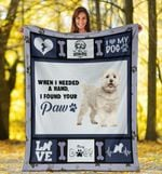 Dog Blanket When I Needed A Hand Bichon Frise Dog Fleece Blanket - Family Presents - Great Blanket, Canvas, Clothe, Gifts For Family