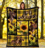 Dog Blanket Dachshund Doxie Wiener Dog Sunflower Yellow Plaid Fleece Blanket - Family Presents - Great Blanket, Canvas, Clothe, Gifts For Family