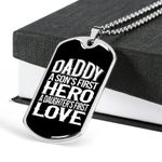Personalized With Engraving - Father'S Day Gift, Christmas Gift For Dad - Dog Tag Keychain, Dog Tag Necklace, A Son'S First Hero A Daughter'S First Love