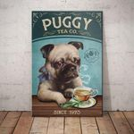 Puggy Tea Company Canvas - Anniversary Birthday Christmas Housewarming Gift Home - Family Presents - Great Blanket, Canvas, Clothe, Gifts For Family