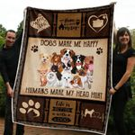 DOG BLANKET - DOGS MAKE ME HAPPY - Family Presents - Great Blanket, Canvas, Clothe, Gifts For Family