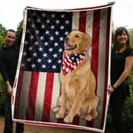 US FLAG GOLDEN RETRIEVER DOG BLANKET - Family Presents - Great Blanket, Canvas, Clothe, Gifts For Family