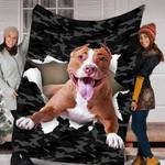 BLANKET PITBULL DOG BLANKET - FLEECE BLANKET - Family Presents - Great Blanket, Canvas, Clothe, Gifts For Family