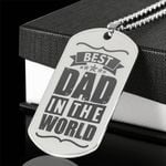 Best Dad In The World Engraved Steel Dog Tag