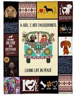 Dachshund Dog Blanket A Girl & Her Dachshunds Living Life In Peace Fleece Blanket - Family Presents - Great Blanket, Canvas, Clothe, Gifts For Family