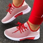 Lace-Up Round Toe Mesh Sneakers