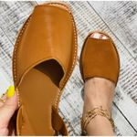 Faux Leather Peep-toe Sandals