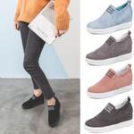 Letter Slip On Faux Suede Wedge Heel Sneakers