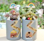 Creative Animal Resin Flowerpot Succulents Planter Water Planting Container Rabbit Hedgehog Decorative Pot Desktop Ornament