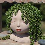 Female Head Plant Pot Head Interesting Unique Figurines Garden Planter Cute Flowerpot Gift Home Decoration For Garden Home