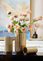 Golden Ceramic Vases For Decoration Modern Living Room Decor Flowers Vase Office Decor Creative Desk Vase Gifts Home Decor