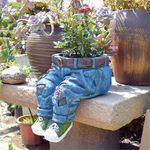 New Creative Jeans Sculpture Resin Holder Desk Place Garden Yard Funny Ornaments Flower Pot Vase Resin Art Crafts Decor 2 Styles