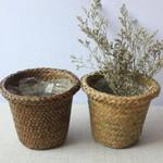 Household Natural Woven Storage Pot Garden Flower Basket Vase Hanging Basket Storage Basket Home Decor Planter
