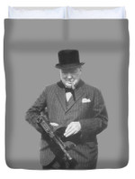 Churchill Posing With A Tommy Gun 3D Personalized Customized Duvet Cover Bedding Sets Bedset Bedroom Set