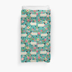 Sheep Farm Sanctuary Florals Pattern Cute Gifts For Animal Lovers 3D Personalized Customized Duvet Cover Bedding Sets Bedset Bedroom Set