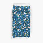 Colorful Flowers On Deep Blue Background 3D Personalized Customized Duvet Cover Bedding Sets Bedset Bedroom Set