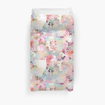 Romantic Pink Teal Watercolor Chic Floral Pattern 3D Personalized Customized Duvet Cover Bedding Sets Bedset Bedroom Set