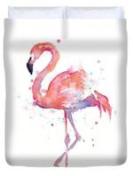 Flamingo Watercolor 3D Personalized Customized Duvet Cover Bedding Sets Bedset Bedroom Set