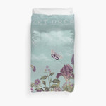 Mauve Flowers On Turquoise Sky Background 3D Personalized Customized Duvet Cover Bedding Sets Bedset Bedroom Set