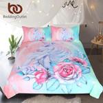 Unicorn and RoseCartoon for KidsGirlyingle et Pink and Blue Floral Home Textiles3D Customize Bedding Set Duvet Cover SetBedroom Set Bedlinen