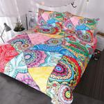 BlessLiving Mandala  Red Pink Boho Flowers Patchwork et Queen for Adults Girls Colorful Bed Cover 3D Customize Bedding Set/ Duvet Cover Set/  Bedroom Set/ Bedlinen