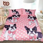 Bow Tie Pug DogQueen Cartoon for Kids et Bulldog Bedclothes Pink Dot Home Textiles 3D Customize Bedding Set Duvet Cover SetBedroom Set Bedlinen