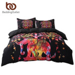 BlackColorful Bohemian PrintandIndian Elephant Exotic Bedclothes Multiizes3D Customize Bedding Set Duvet Cover SetBedroom Set Bedlinen