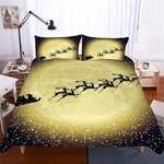 Christmasleigh In Front Of Golden Moon 3D Customize Bedding Set Duvet Cover SetBedroom Set Bedlinen