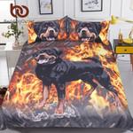 Rottweiler  3D Printed Kids Boys  Fire Dog et Animal Printed Bedclothes Home Textiles3D Customize Bedding Set/ Duvet Cover Set/  Bedroom Set/ Bedlinen