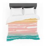 "Annelineophia ""Paintedtripes Peach"" Pink Teal Featherweight3D Customize Bedding Set Duvet Cover SetBedroom Set Bedlinen"