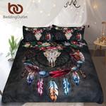 Boho DreamcatcherTribal Horns FlowersRustic Bedclotheskull Black Gothic Home Textiles3D Customize Bedding Set Duvet Cover SetBedroom Set Bedlinen